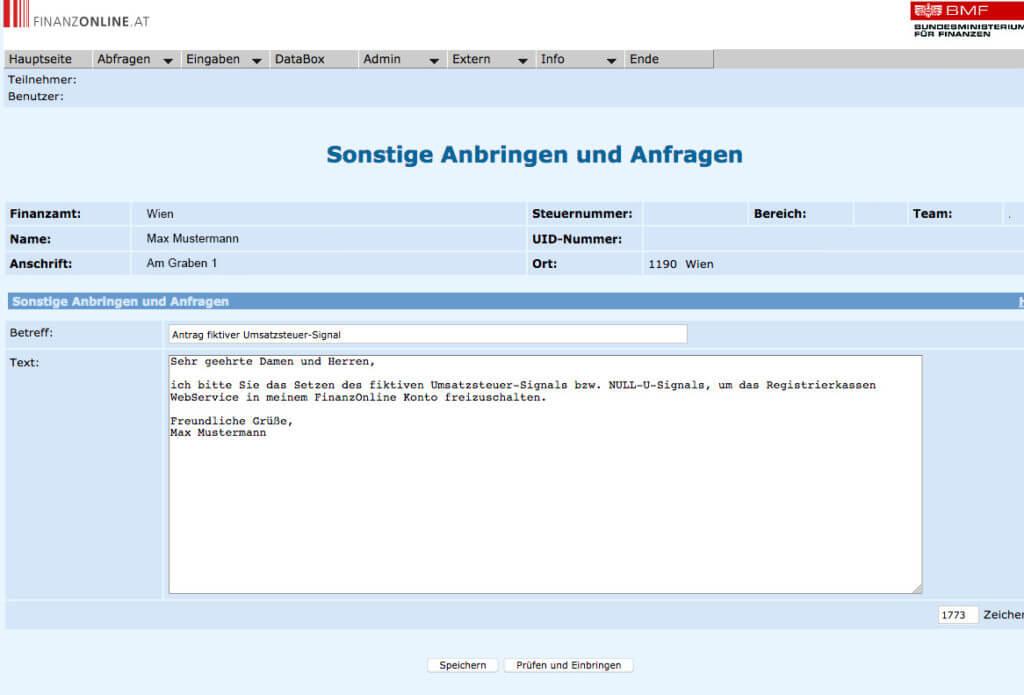 Antragsformular fiktiver Umsatzsteuer-Signal für Registrierkasse Webservice